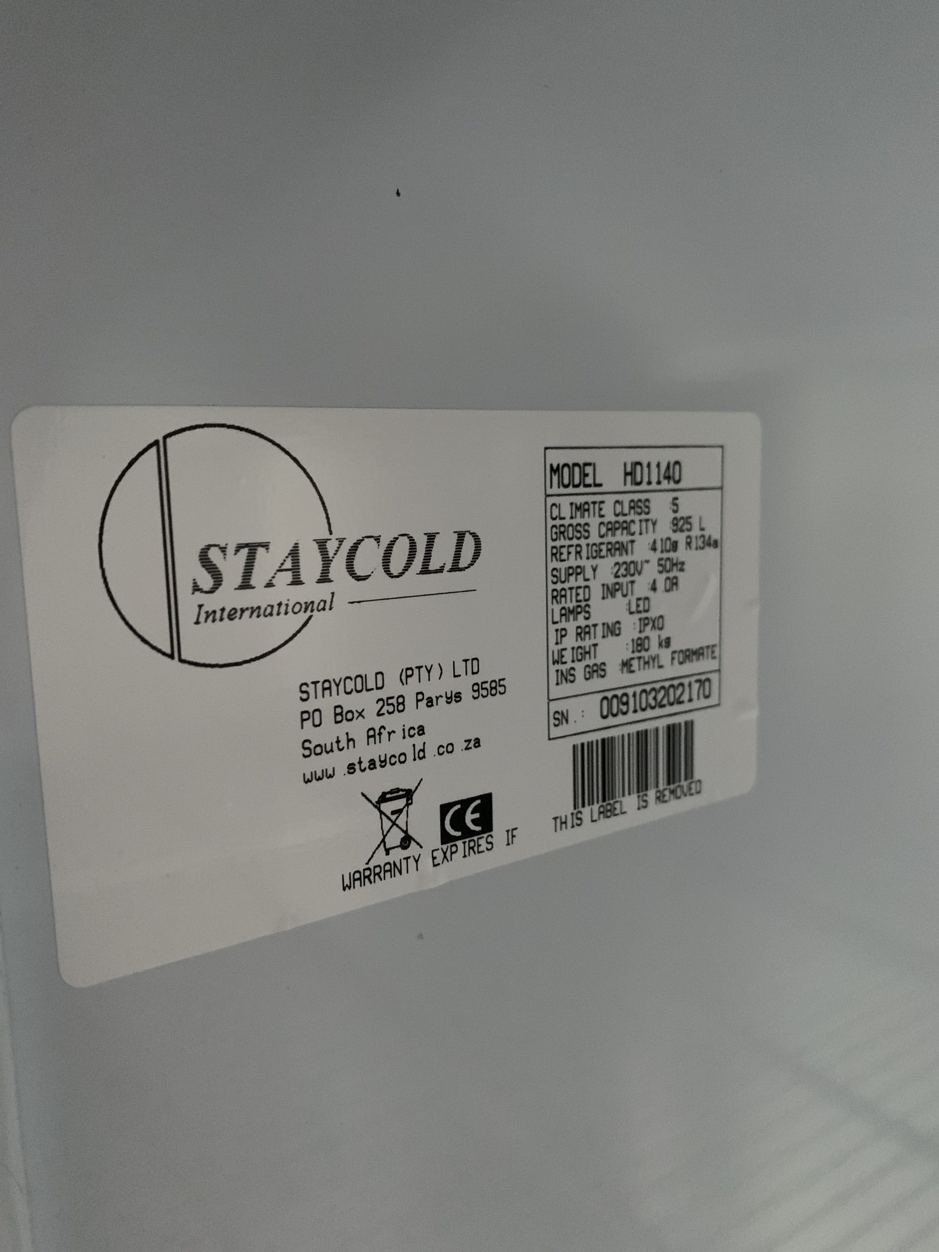 image of rating label of a Staycold cooler